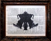 Rorschach Ink Blot 4 Art Print on Dictionary Book Page