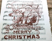 Merry Christmas Art Print on Christmas Oratorio Song Page on Antique Music Book Page from 1929--Only 1 Available