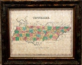 Tennessee State Map Print of an 1827 Map on Parchment Paper