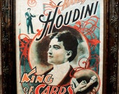 Houdini King of Cards Poster Art from 1895 Art Print on Parchment Paper