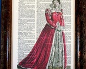 Medieval Woman in Red Art Print on Dictionary Book Page