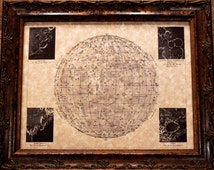Moon Map Print of an 1898 Map on Parchment Paper