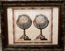 Terrestrial and Celestial Globes Map Print of a 1770 Map on Parchment Paper