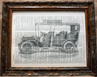 Antique Adler Automobile Art Print on Dictionary Book Page
