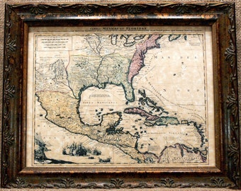 North American Map Print of a 1710 Map on Parchment Paper