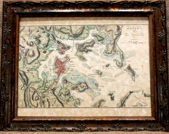 Boston Region Map Print of an 1807 Map on Parchment Paper