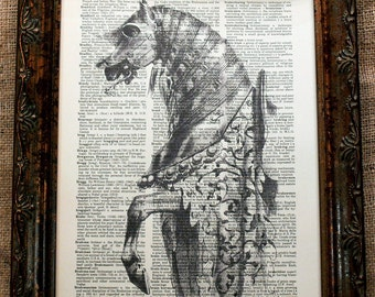 Iron Horse Art Print on Dictionary Book Page
