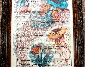 Jellyfish Art Print from 1904 on Antique Music Book Page