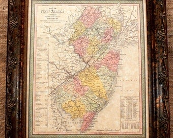 New Jersey State Map Print of an 1850 Map on Parchment Paper