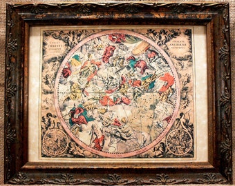 Celestial Chart Map Print of a 1708 Map on Parchment Paper