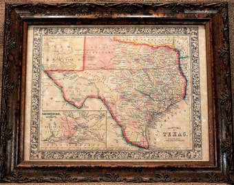 Old texas map Etsy
