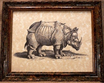 Rhino Art Print on Parchment Paper