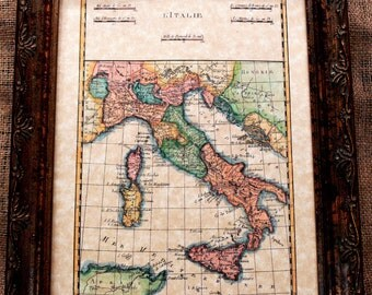 Italy Map Print of a 1780 Map on Parchment Paper