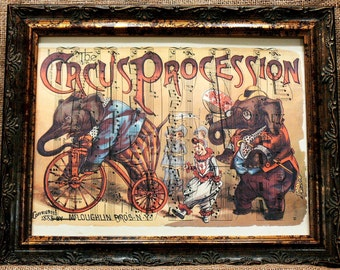 Circus Ad from 1888 Art Print on Antique Music Book Page