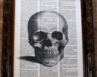 Skull Art Print from 1818 on Dictionary Book Page