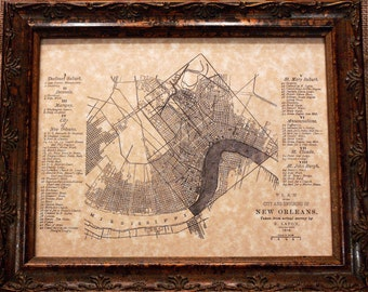 City of New Orleans Map Print of an 1816 Map on Parchment Paper