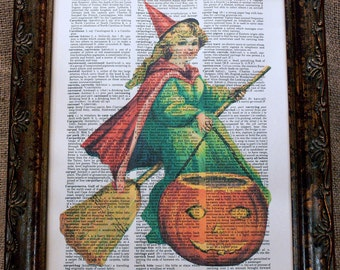 Halloween Witch with Pumpkin Art Print on Vintage Dictionary Book Page