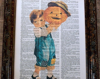 Halloween Child with Pumpkin Art Print on Vintage Dictionary Book Page