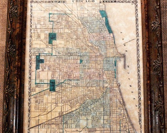 City of Chicago Map Print of an 1876 Map on Parchment Paper