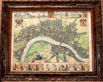 City of London Map Print of a 1688 Map on Parchment Paper