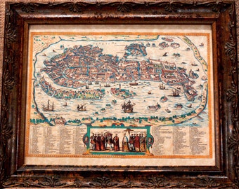 City of Venice Aerial View Map Print of a 1610 Map on Parchment Paper