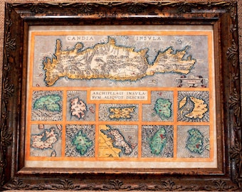 Crete and 10 Greek Islands Map Print of a 1584 Map on Parchment Paper