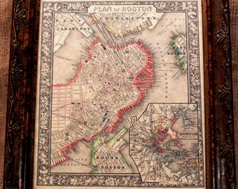 City of Boston Map Print of an 1866 Map on Parchment Paper