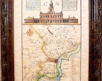 Philadelphia Region Map Print of a 1750 Map on Parchment Paper