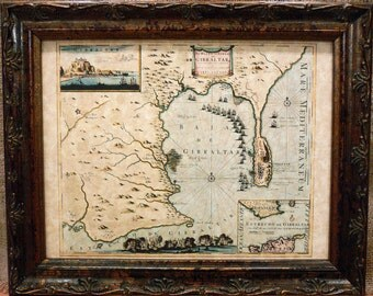 Straits of Gibraltar Map Print of a 1680 Map on Parchment Paper