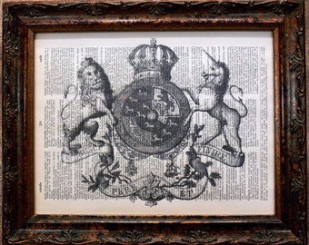 Lion-Unicorn Crest Art Print on Dictionary Book Page