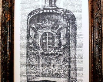 Vintage Bottle with Crest Art Print on Dictionary Book Page