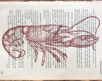 Red Lobster Art Print on Random Page of Vintage Cookbook