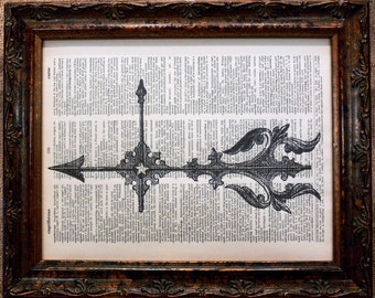 Antique Weather Vane Art Print on Dictionary Book Page