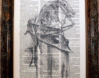 Horse in Armor Art Print on Dictionary Book Page