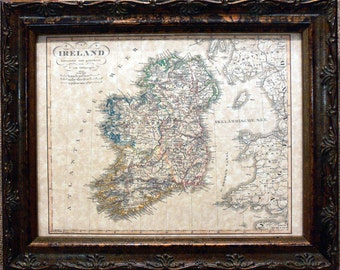 Ireland Map Print of an 1850 Map on Parchment Paper