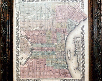 City of Philadelphia Map Print of an 1855 Map on Parchment Paper