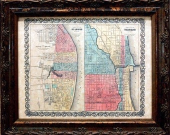 City of St. Louis and City of Chicago Map Print of an 1856 Map on Parchment Paper