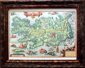 Iceland Map Print of a 1585 Map on Watercolor Paper