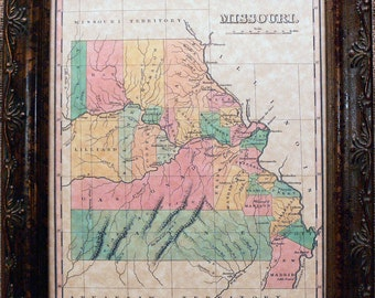 Missouri State Map Print of an 1827 Map on Parchment Paper