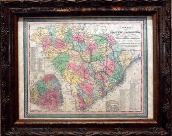 South Carolina State Map Print of an 1850 Map on Parchment Paper