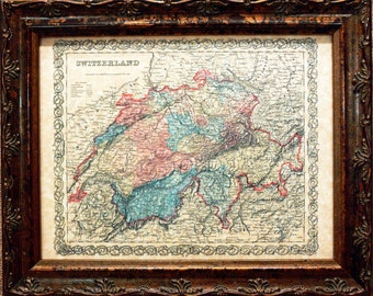 Switzerland Map Print of an 1855 Map on Parchment Paper