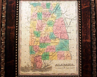 Alabama State Map Print of an 1827 Map on Parchment Paper