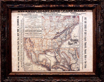 Atlantic Coast Line Railway Map Print of an 1885 Map on Parchment Paper