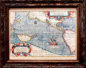 First Pacific Ocean Map Print of a 1589 Map on Parchment Paper
