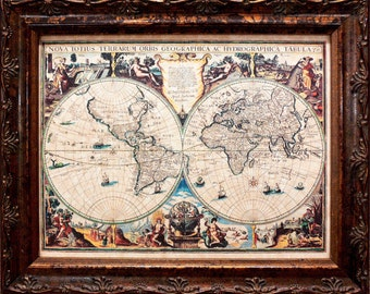 Double Hemisphere World Map Print of a 1625 Map on Parchment Paper