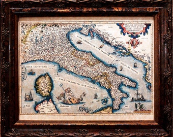 Italy Map Print of a 1574 Map on Parchment Paper