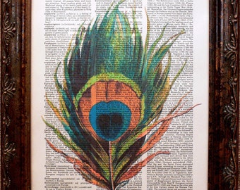 Peacock Feather Art Print on Dictionary Book Page