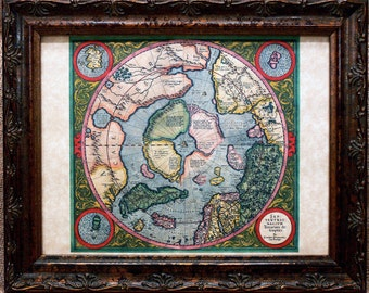 North Pole Map Print of a 1613 Map on Parchment Paper