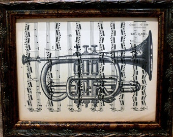 Trumpet Art Print on Antique Music Book Page
