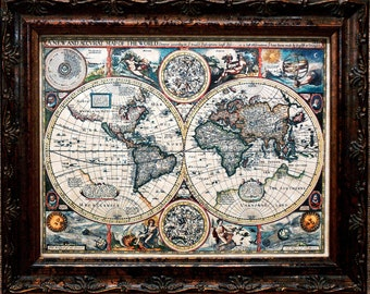 Double Hemisphere World Map Print of a 1626 Map on Parchment Paper